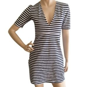 Zara Blue Striped V Cut Navy & White Casual Dress